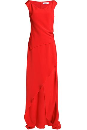 Asymmetric layered duchesse silk-satin gown