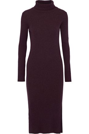 IRIS & INK Tyra ribbed merino wool turtleneck dress