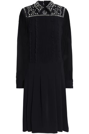 MIKAEL AGHAL Georgette-paneled embellished crepe shirt dress