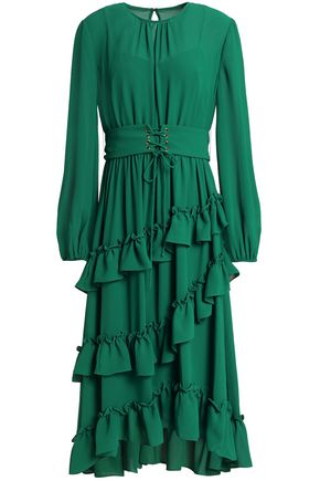 MIKAEL AGHAL Lace-up ruffled crepe de chine dress