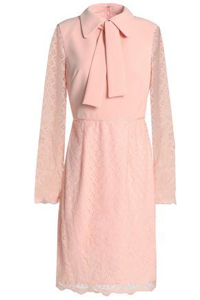 Crepe Paneled Lace Shirt Dress by Mikael Aghal