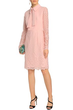 MIKAEL AGHAL Crepe-paneled lace shirt dress