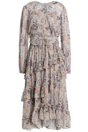MIKAEL AGHAL Lace-up ruffled metallic floral-print georgette dress