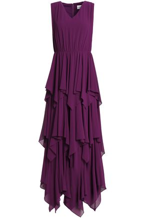 MIKAEL AGHAL Tiered asymmetric crepe de chine gown
