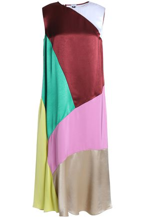 Fluted color-block satin and satin-crepe midi dress