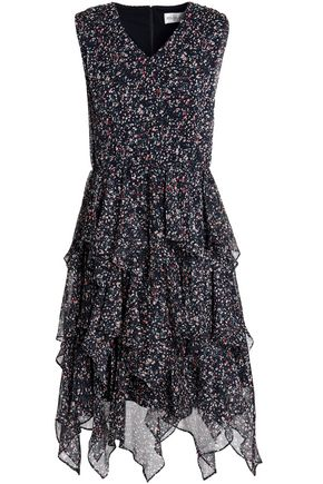 MIKAEL AGHAL Ruffled printed georgette dress
