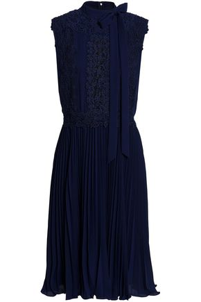 MIKAEL AGHAL Guipure lace-paneled pleated crepe dress