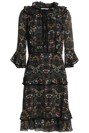 MIKAEL AGHAL Ruffled metallic floral-print georgette dress