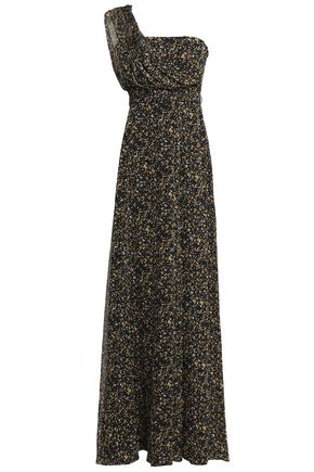 MIKAEL AGHAL One-shoulder printed georgette gown