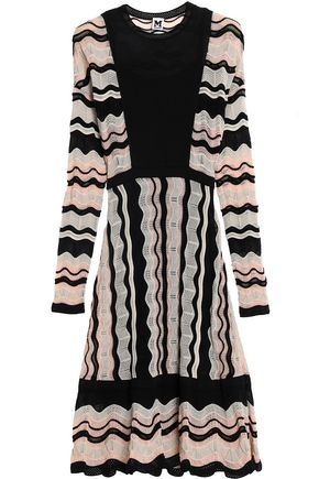 M MISSONI Pleated crochet and pointelle-knit dress