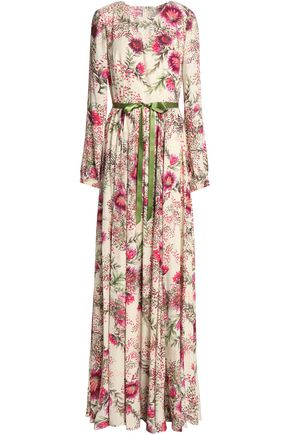 MIKAEL AGHAL Satin-trimmed floral-print crepe gown