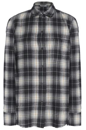 VINCE. Checked cotton-flannel shirt