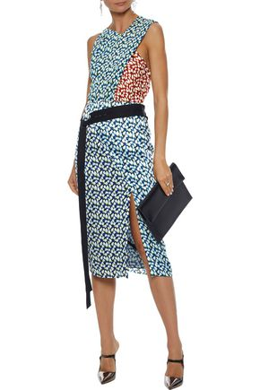 JASON WU Paneled printed silk-georgette top