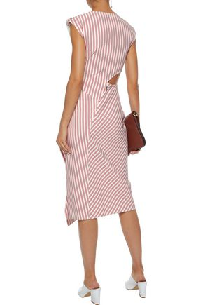 JASON WU Cutout draped striped poplin dress