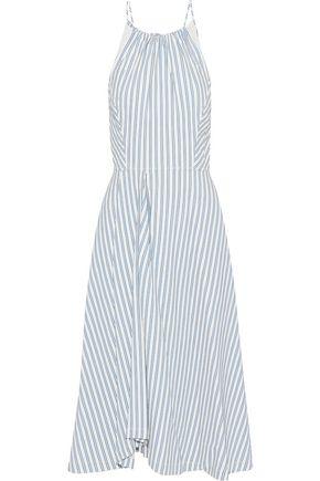 JASON WU Pleated striped poplin midi dress