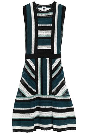 M MISSONI Fluted pointelle and crochet-knit mini dress