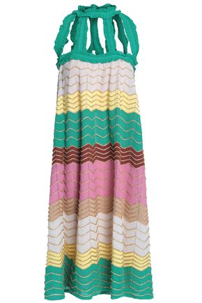 M MISSONI Cutout metallic crochet-knit cotton-blend dress