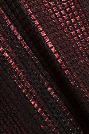 HOUSE OF HOLLAND Lace-trimmed metallic jacquard mini dress