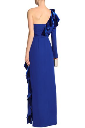 MIKAEL AGHAL ワンショルダー ラッフル付き ベルベット&クレープ ロングドレス