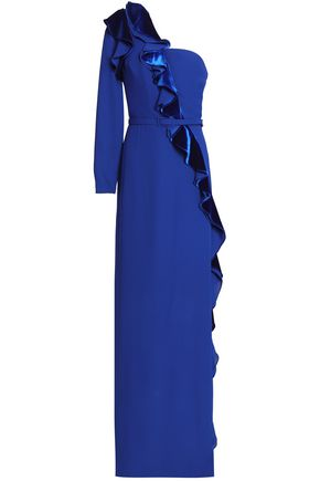 One-shoulder ruffled velvet and crepe gown