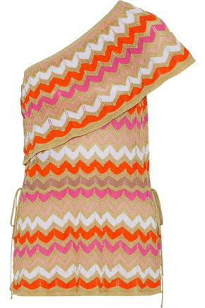 M MISSONI One-shoulder metallic crochet-knit cotton-blend  top
