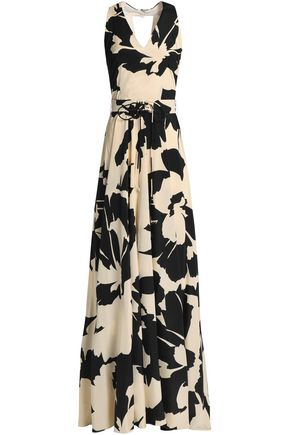 MIKAEL AGHAL Pleated floral-print silk-blend crepe de chine gown