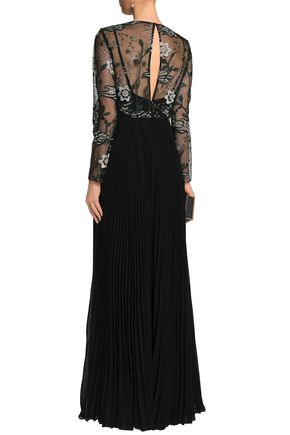MIKAEL AGHAL Embroidered tulle-paneled pleated crepe de chine gown