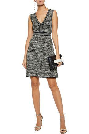 M MISSONI Flared metallic crochet-knit mini dress