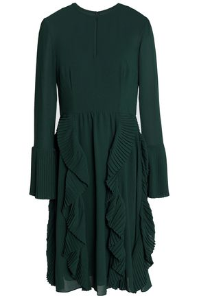 MIKAEL AGHAL Pleated ruffled crepe dress