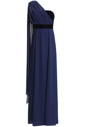 MIKAEL AGHAL One-shoulder draped chiffon and velvet gown