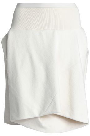 RICK OWENS Layered brushed cotton and silk-blend shorts