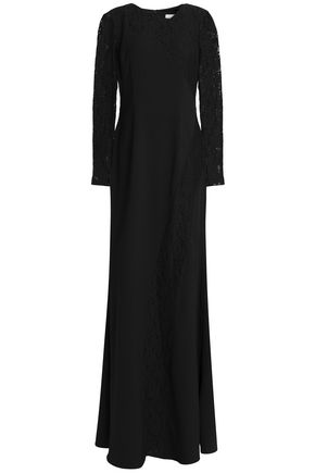 MIKAEL AGHAL Corded lace-paneled crepe gown