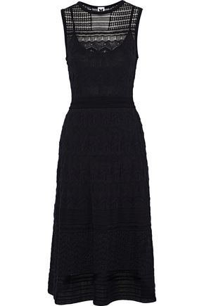 M MISSONI Fluted crocheted cotton-blend midi dress