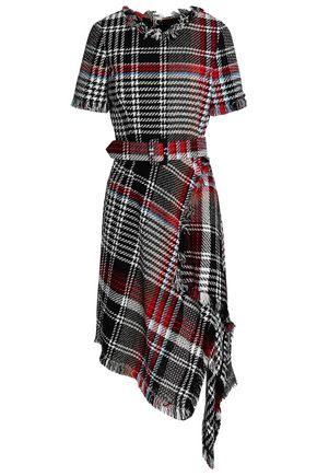 OSCAR DE LA RENTA Asymmetric checked cotton-blend jacquard dress