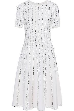 JASON WU Embroidered ribbed wool-blend dress