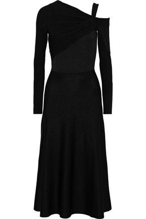 JASON WU One-shoulder twist-front stretch-knit midi dress