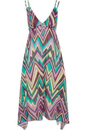 bb8748205a M MISSONI Asymmetric printed cotton-poplin midi dress