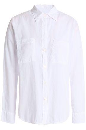 ENZA COSTA Split-back crinkled cotton-poplin shirt
