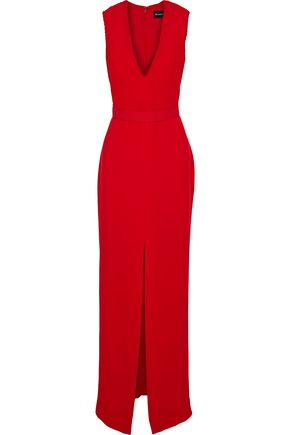 BRANDON MAXWELL Split-front pintucked crepe gown