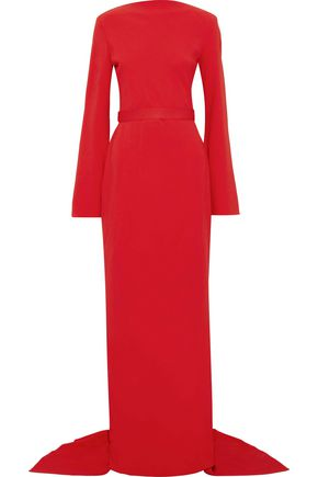 BRANDON MAXWELL Grosgrain-trimmed draped crepe gown
