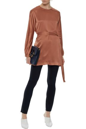 VINCE. Belted silk-satin tunic