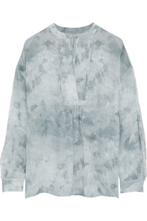VINCE. Tie-dyed gathered silk-georgette blouse