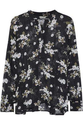 VINCE. Floral-print silk-chiffon blouse
