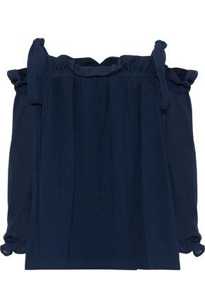BAUM UND PFERDGARTEN Malavika cold-shoulder ruffle-trimmed georgette blouse