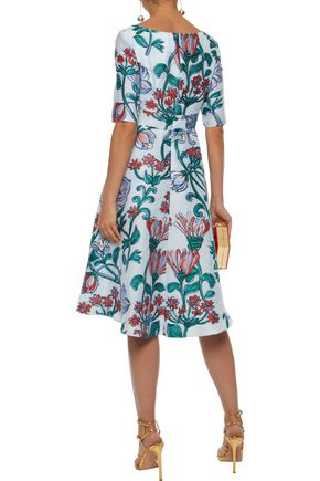 LELA ROSE Floral-jacquard dress