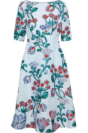 LELA ROSE Flared cloqué-jacquard dress