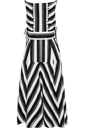 LELA ROSE Striped cotton and silk-blend midi dress