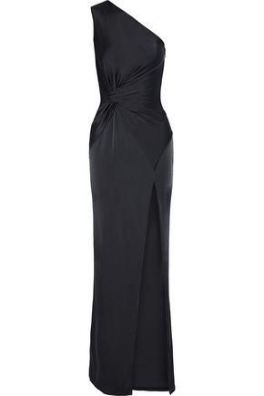 CUSHNIE ET OCHS Denise one-shoulder twist-front satin-jersey gown