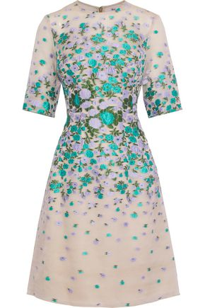 LELA ROSE Holly floral-jacquard silk-blend organza dress