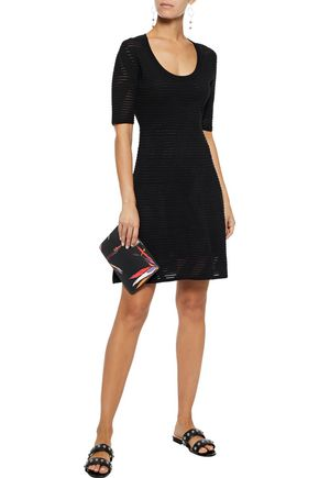 M MISSONI Pleated crochet-knit cotton-blend mini dress